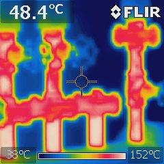 サーモグラフィーで温度分布を視覚的に表示したセパレーター
